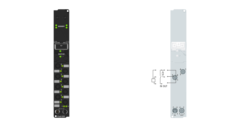 IP2300-B200 | Fieldbus Box, 4-channel digital input + 4-channel digital output, Lightbus, 24VDC, 3ms, 0.5A, Ø8