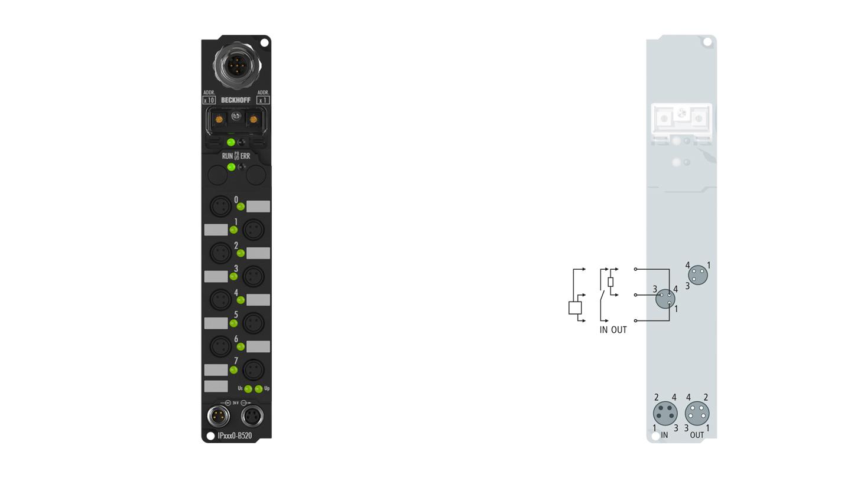 IP2320-B520 | Fieldbus Box, 4-channel digital input + 4-channel digital output, DeviceNet, 24VDC, 3ms, 2A, Ø8