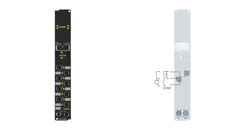 IP2311-B200 | Fieldbus Box, 4-channel digital input + 4-channel digital output, Lightbus, 24VDC, 0.2ms, 0.5A, M8
