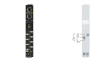 IP2321-B518 | Fieldbus Box, 4-channel digital input + 4-channel digital output, CANopen, 24VDC, 3ms, 2A, M8, integrated T-connector