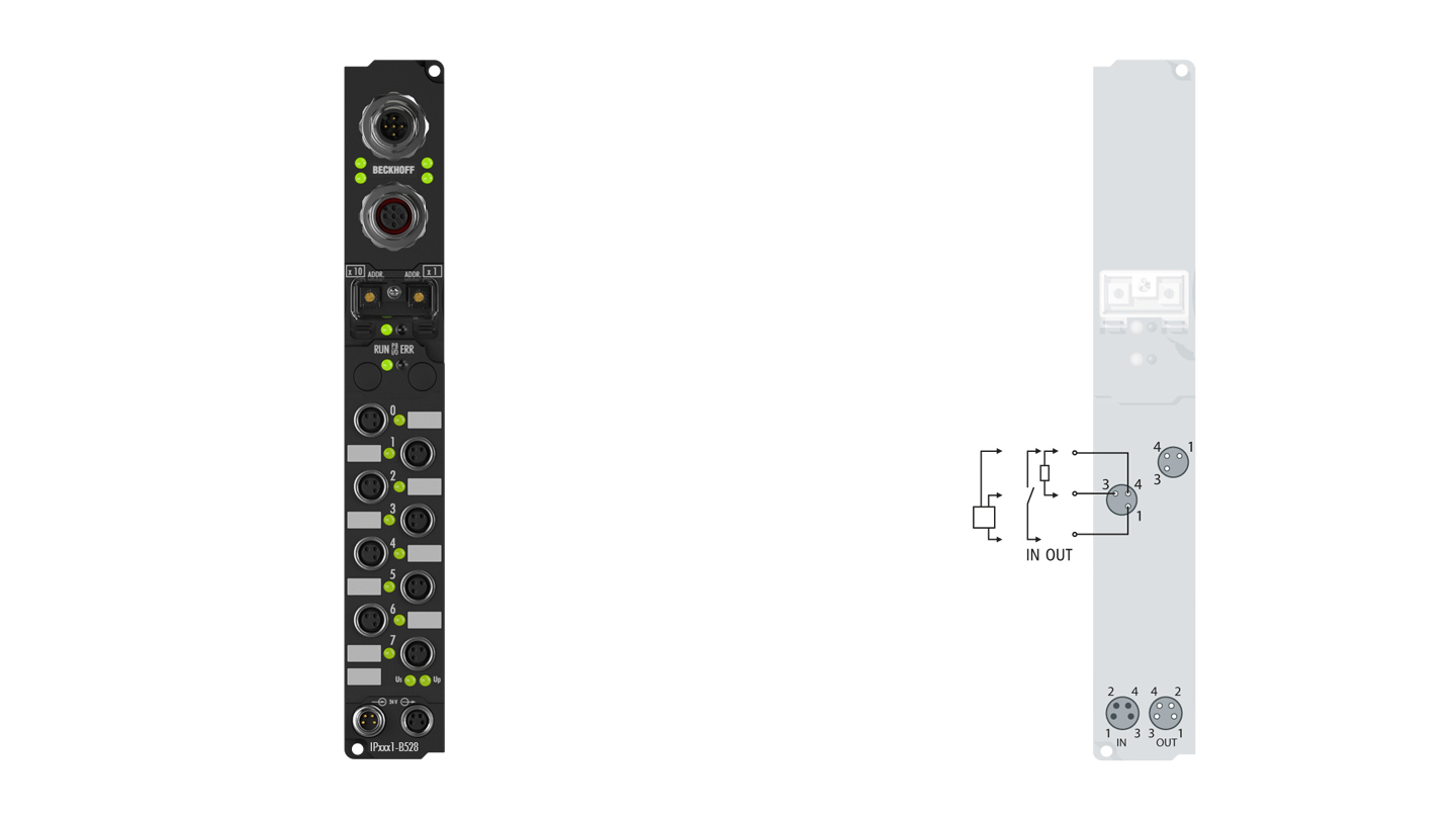 IP2331-B528 | Fieldbus Box, 4-channel digital input + 4-channel digital output, DeviceNet, 24VDC, 0.2ms, 2A, M8, integrated T-connector