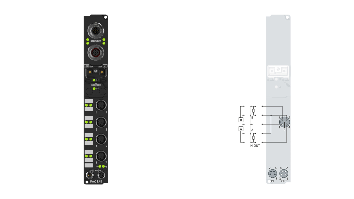 IP2302-B518 | Fieldbus Box, 4-channel digital input + 4-channel digital output, CANopen, 24VDC, 3ms, 0.5A, M12, integrated T-connector
