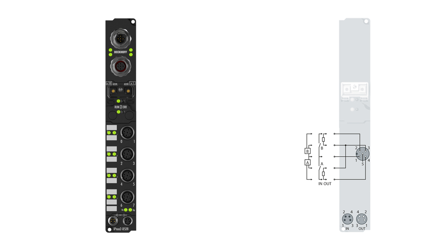 IP2302-B528 | Fieldbus Box, 4-channel digital input + 4-channel digital output, DeviceNet, 24VDC, 3ms, 0.5A, M12, integrated T-connector