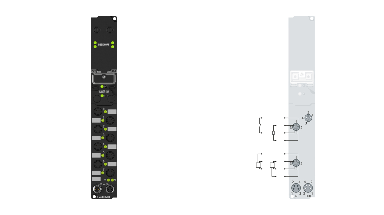 IP2400-B200 | Fieldbus Box, 8-channel digital input + 8-channel digital output, Lightbus, 24VDC, 3ms, 0.5A, Ø8