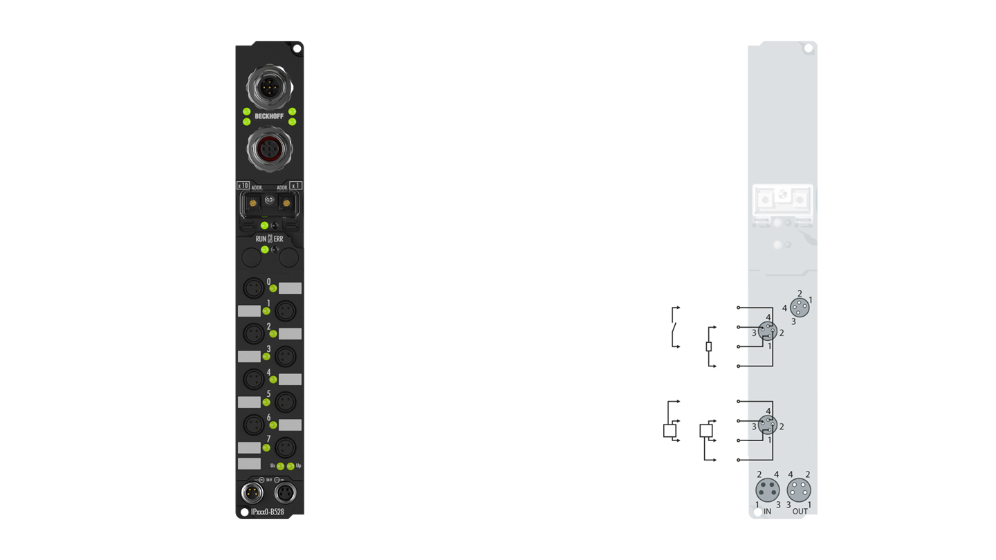 IP2400-B528   Fieldbus Box, 8-channel digital input + 8-channel digital output, DeviceNet, 24VDC, 3ms, 0.5A, Ø8, integrated T-connector