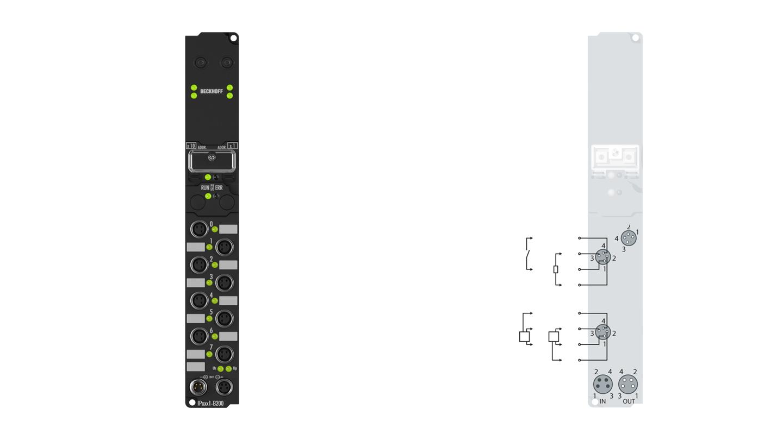 IP2401-B200 | Fieldbus Box, 8-channel digital input + 8-channel digital output, Lightbus, 24VDC, 3ms, 0.5A, M8