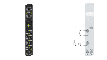 IP2401-B518 | Fieldbus Box, 8-channel digital input + 8-channel digital output, CANopen, 24VDC, 3ms, 0.5A, M8, integrated T-connector