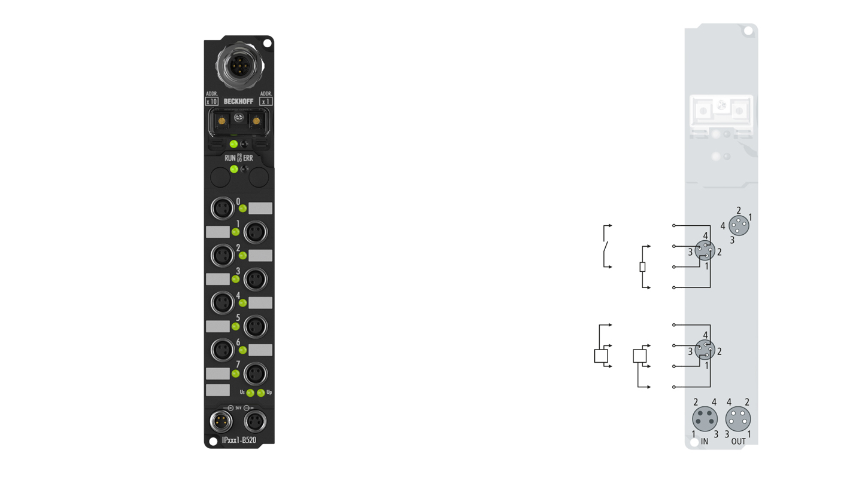 IP2401-B520 | Fieldbus Box, 8-channel digital input + 8-channel digital output, DeviceNet, 24VDC, 3ms, 0.5A, M8