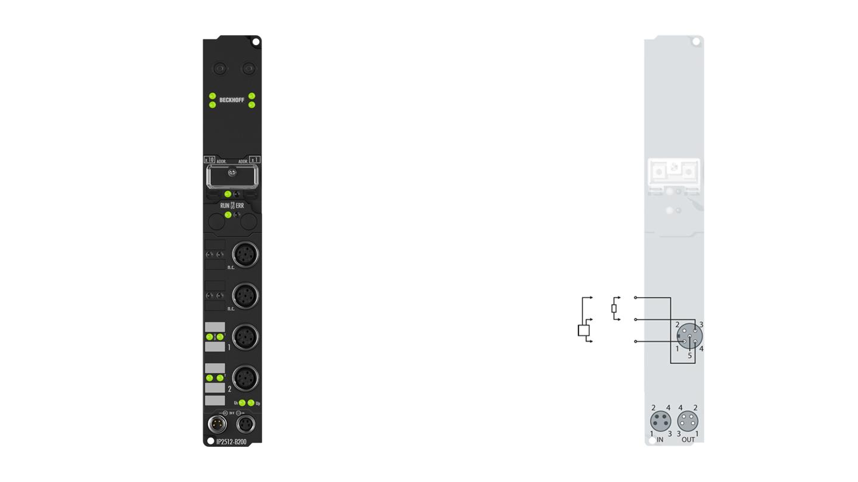 IP2512-B200 | Fieldbus Box, 2-channel PWM output, Lightbus, 24VDC, 2.5A, M12