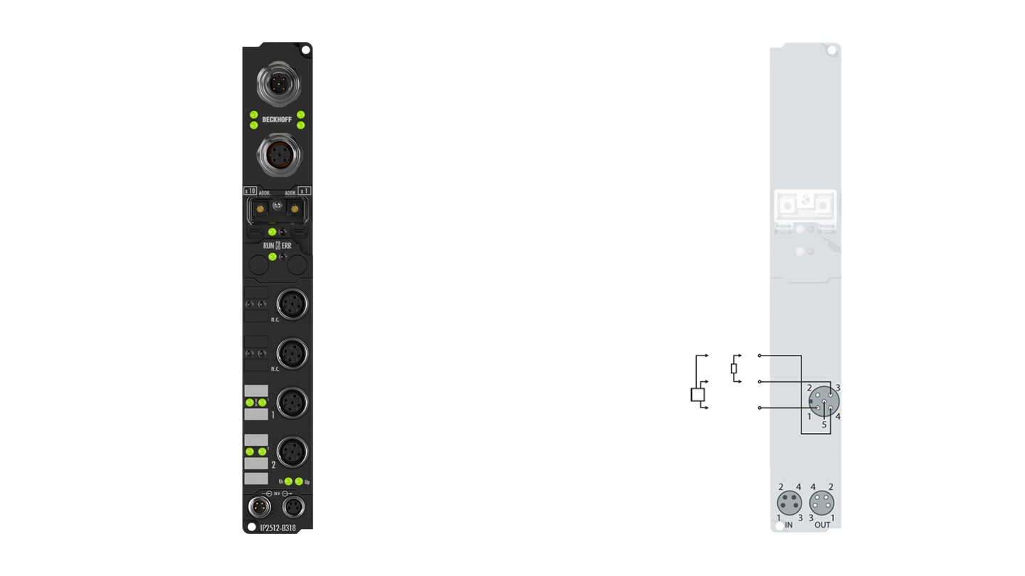 IP2512-B318 | Fieldbus Box, 2-channel PWM output, PROFIBUS, 24VDC, 2.5A, M12, integrated T-connector