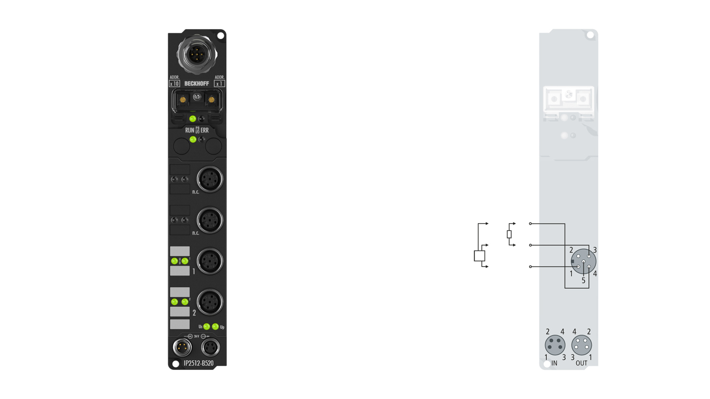 IP2512-B520 | Fieldbus Box, 2-channel PWM output, DeviceNet, 24VDC, 2.5A, M12
