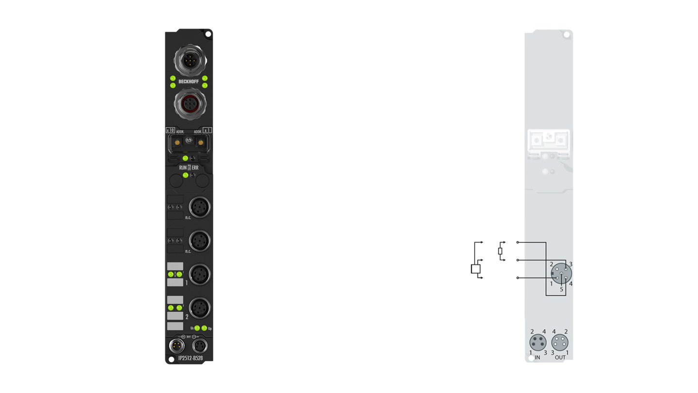 IP2512-B528 | Fieldbus Box, 2-channel PWM output, DeviceNet, 24VDC, 2.5A, M12, integrated T-connector