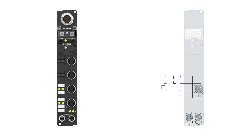 IP2512-B810 | Fieldbus Box, 2-channel PWM output, RS232, 24VDC, 2.5A, M12