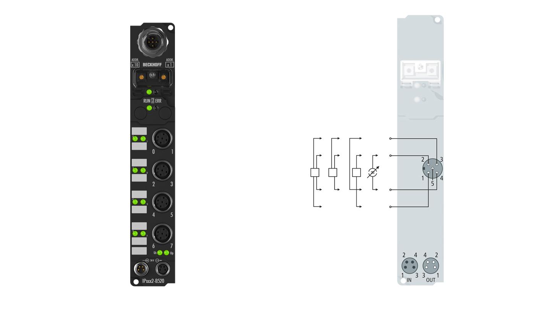 IP3102-B520 | Fieldbus Box, 4-channel analog input, DeviceNet, voltage, ±10V, 16bit, differential, M12