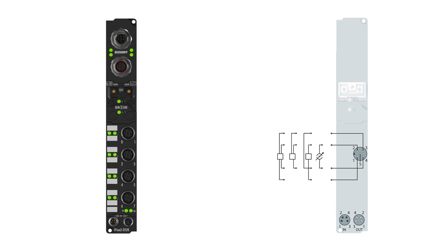 IP3102-B528 | Fieldbus Box, 4-channel analog input, DeviceNet, voltage, ±10V, 16bit, differential, M12, integrated T-connector