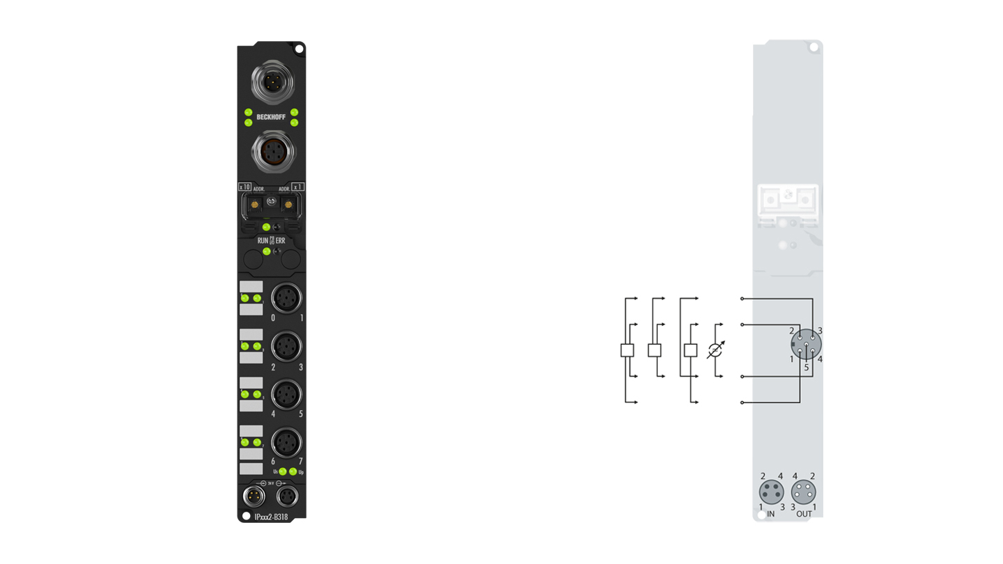 IP3112-B318 | Fieldbus Box, 4-channel analog input, PROFIBUS, current, 0/4…20mA, 16bit, differential, M12, integrated T-connector