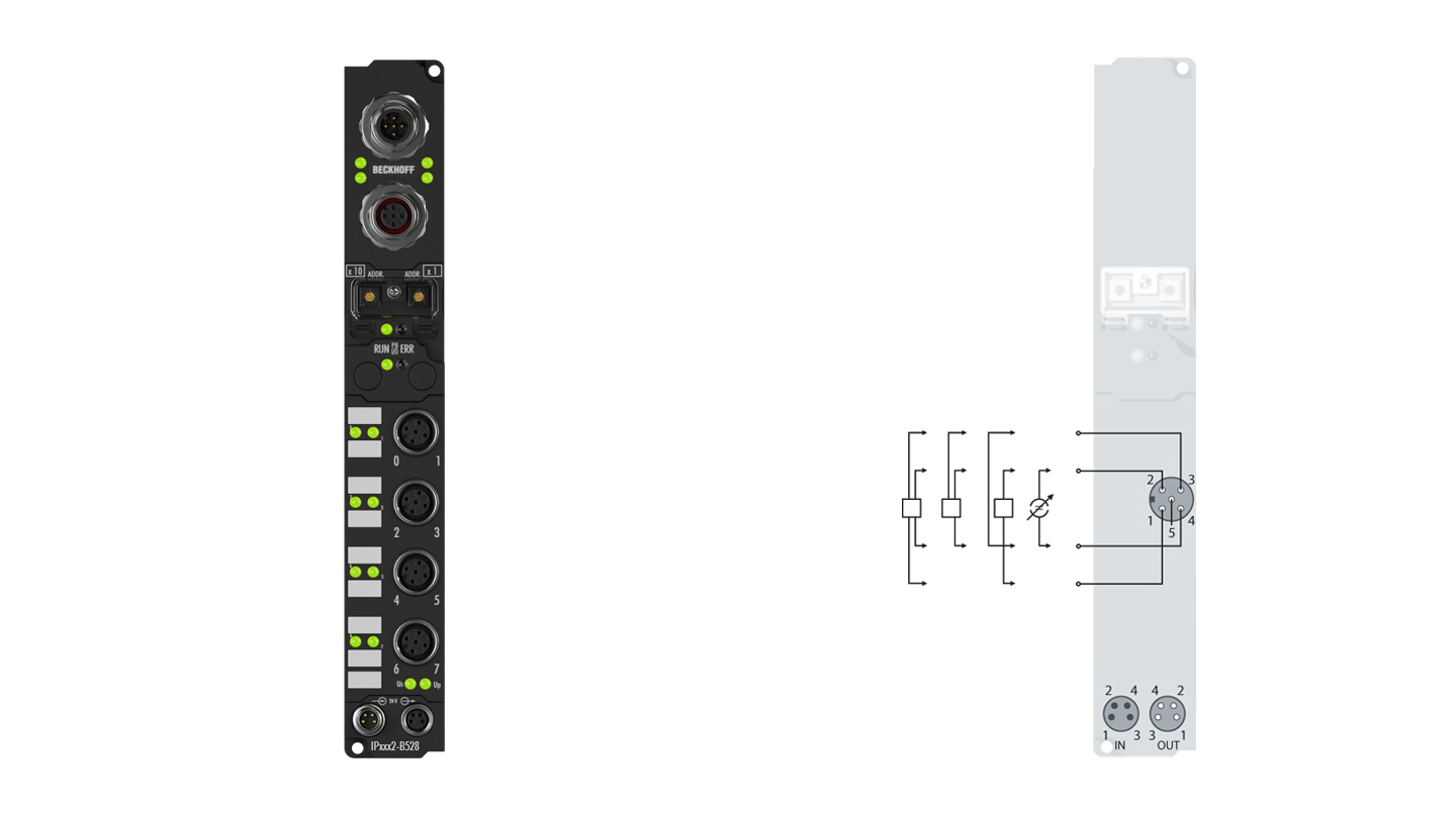 IP3112-B528 | Fieldbus Box, 4-channel analog input, DeviceNet, current, 0/4…20mA, 16bit, differential, M12, integrated T-connector