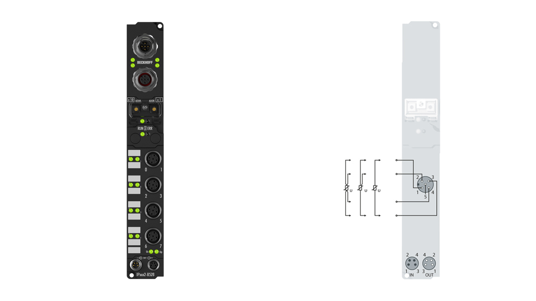 IP3202-B528 | Fieldbus Box, 4-channel analog input, DeviceNet, temperature, RTD (Pt100), 16bit, M12, integrated T-connector