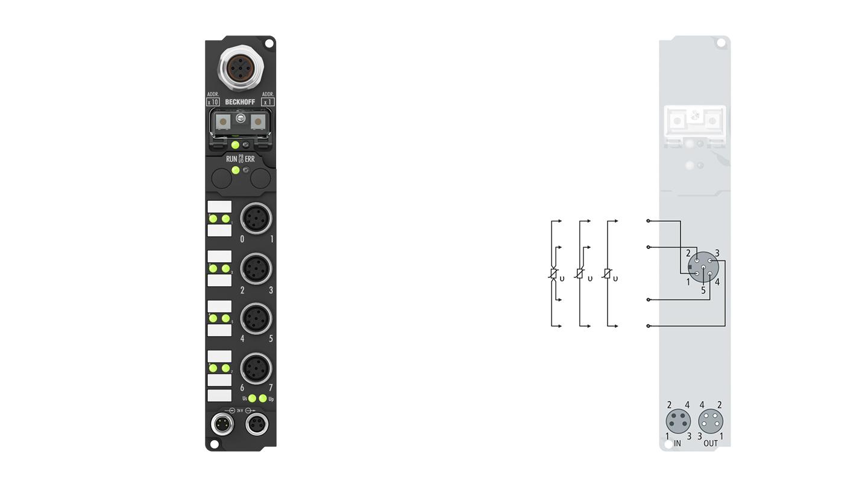 IP3202-B730 | Fieldbus Box, 4-channel analog input, Modbus, temperature, RTD (Pt100), 16bit, M12