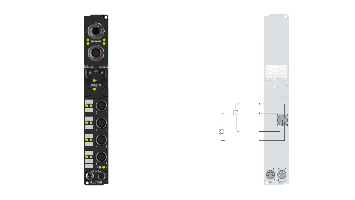 IP3312-B528 | Fieldbus Box, 4-channel analog input, DeviceNet, temperature, thermocouple, M12, integrated T-connector