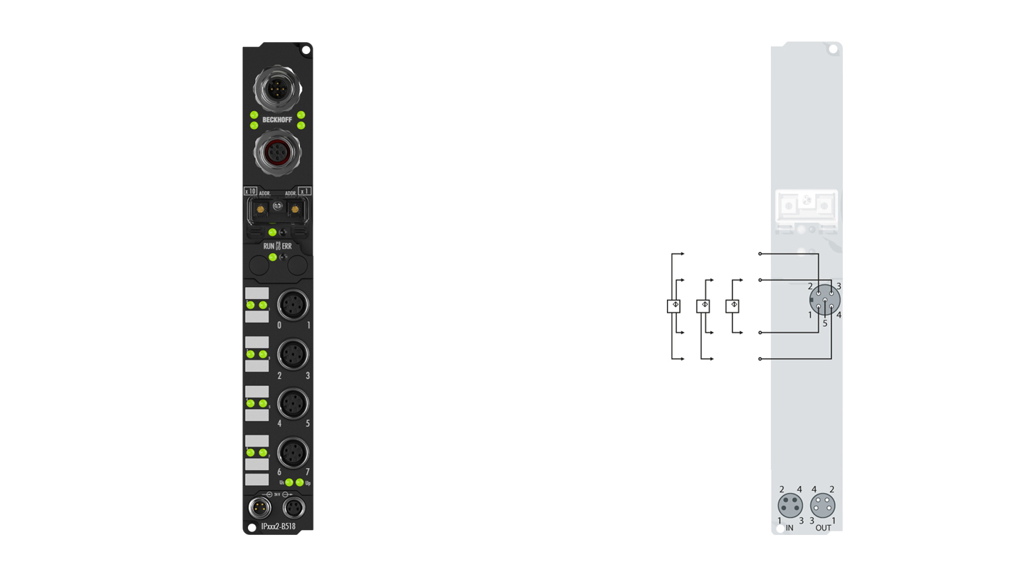 IP4132-B518 | Fieldbus Box, 4-channel analog output, CANopen, voltage, ±10V, 16bit, differential, M12, integrated T-connector
