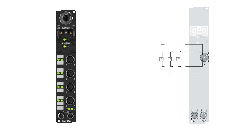 IP4132-B520 | Fieldbus Box, 4-channel analog output, DeviceNet, voltage, ±10V, 16bit, differential, M12