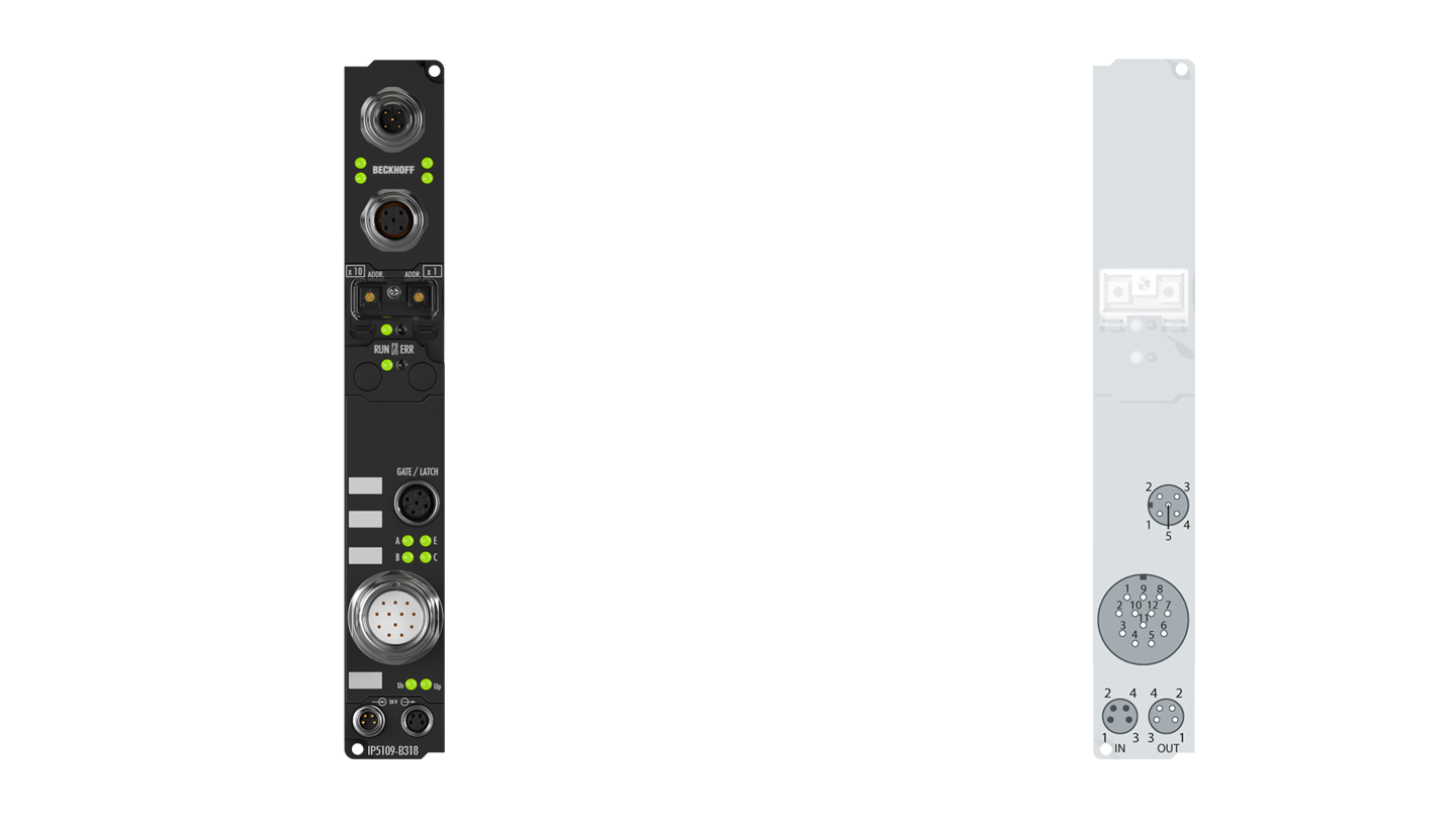 IP5109-B318 | Fieldbus Box, 1-channel encoder interface, PROFIBUS, incremental, 5VDC (DIFFRS422,TTL), 1MHz, M23, integrated T-connector