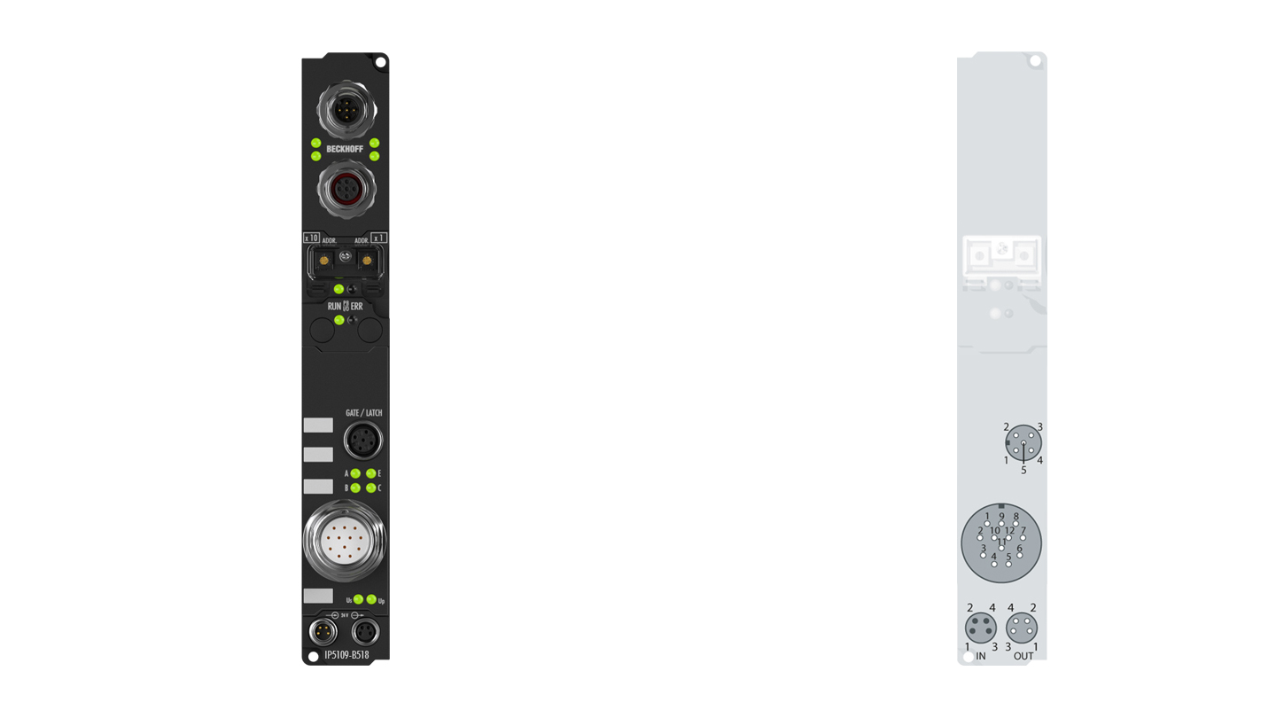 IP5109-B518 | Fieldbus Box, 1-channel encoder interface, CANopen, incremental, 5VDC (DIFFRS422,TTL), 1MHz, M23, integrated T-connector