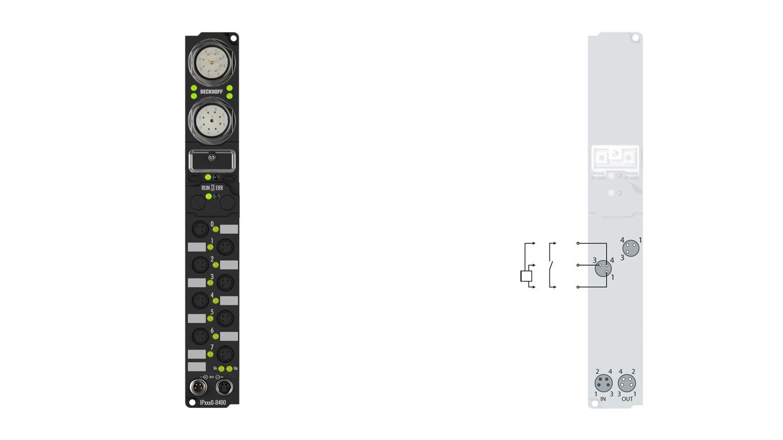 IP1000-B400 | Fieldbus Box, 8-channel digital input, Interbus, 24VDC, 3ms, Ø8