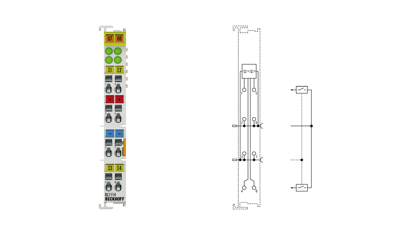 KL1114 | Bus Terminal, 4-channel digital input, 24VDC, 0.2ms, 2-/3-wire connection