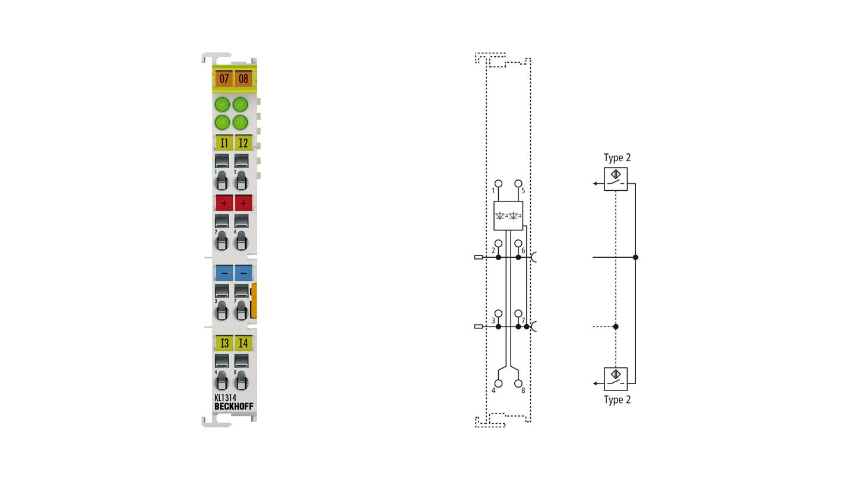 KL1314   4-channel digital input terminal 24VDC for type 2 sensors