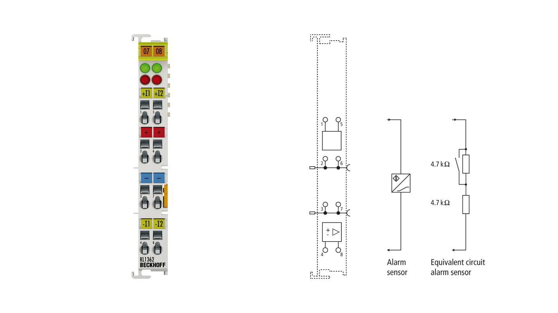 KL1362 | Bus Terminal, 2-channel digital input, break-in alarm, 24VDC, 3ms