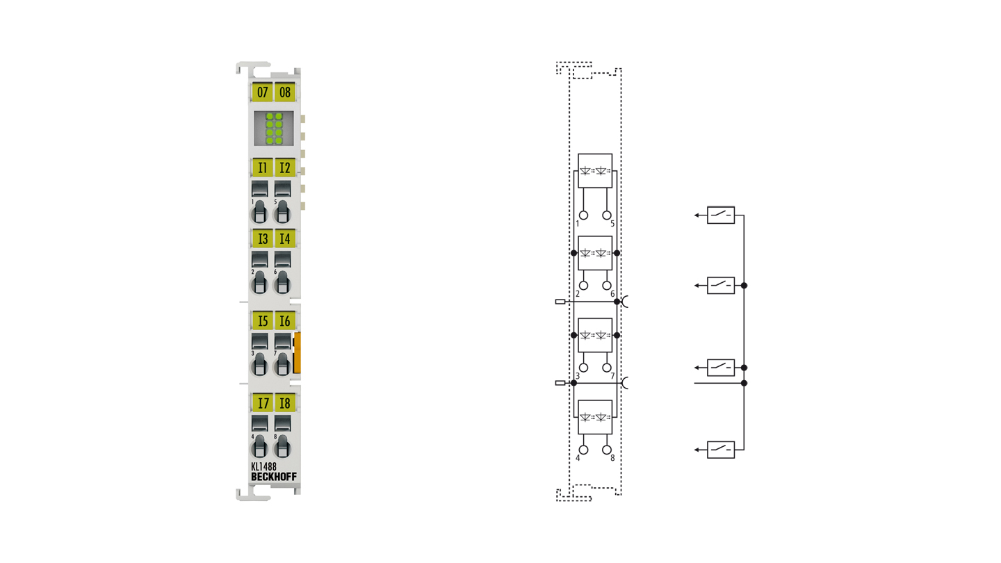 KL1488 | Bus Terminal, 8-channel digital input, 24VDC, 3ms, ground switching