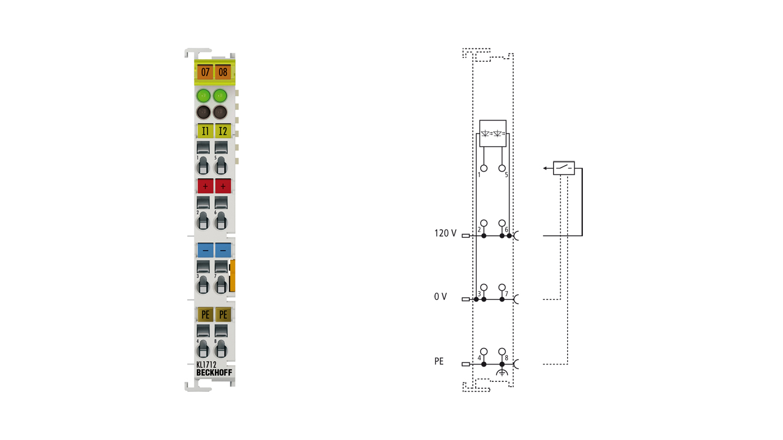 KL1712   Bus Terminal, 2-channel digital input, 120VAC/DC, 10ms