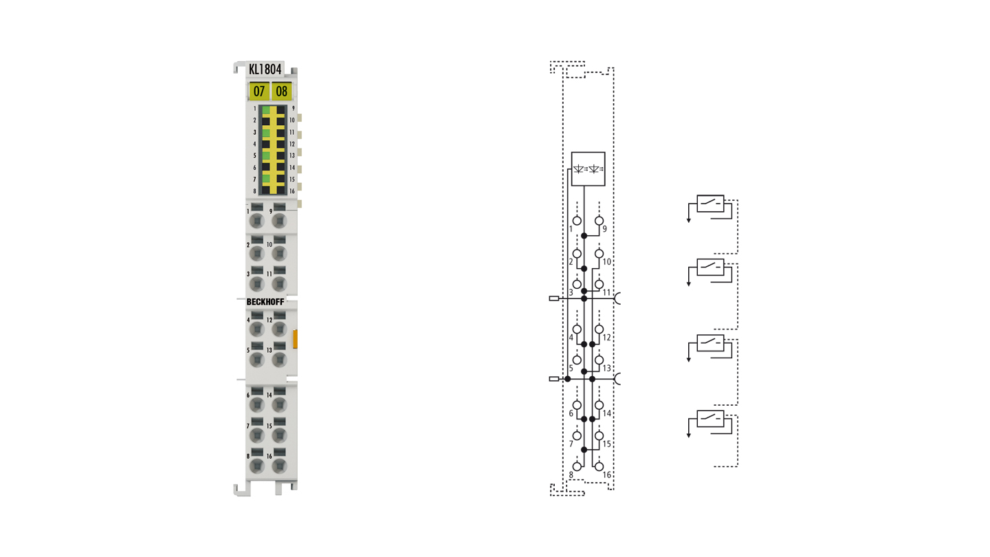 KL1804 | HD Bus Terminal, 4-channel digital input 24VDC, 3-wire connection
