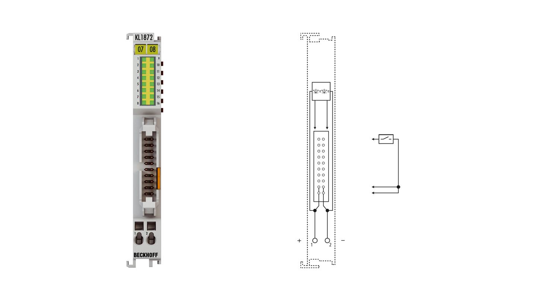KL1872 | 16-Kanal-Digital-Eingangsklemme 24VDC, Typ 3, Flachbandkabelanschluss
