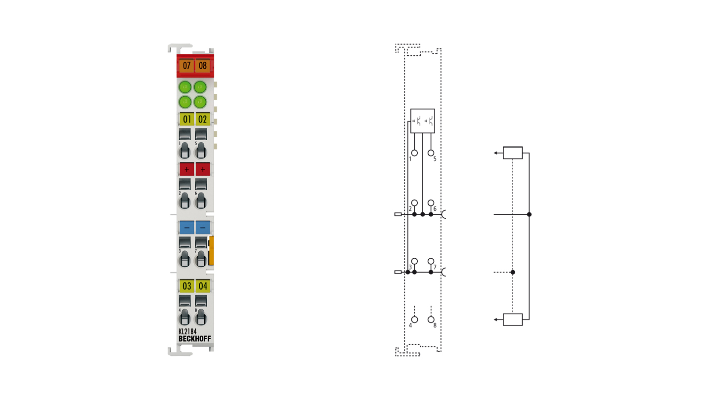 KL2184 | Bus Terminal, 4-channel digital output, 24VDC, 0.5A, ground switching