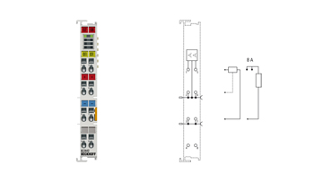 KL2442 | 2-channel digital output terminal 24 V DC, 2 x 4 A/1 x 8 A