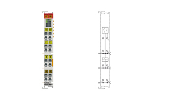 KL2602-0010   2-channel relay output terminal 230 V AC, 5 A, make contacts, contact-protecting switching of LED lamps