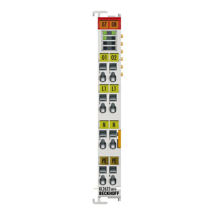 KL2622-0010 | 2-Kanal-Relais-Ausgangsklemme 230 V AC, 5 A, Schließer, ohne Powerkontakte, kontaktschonendes Schalten von LED-Lampen