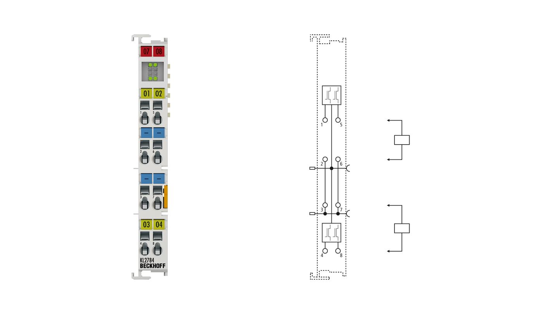 KL2784 | 4-Kanal-Digital-Ausgangsklemme 30 V AC/DC, 2A