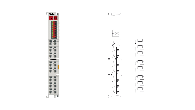 KL2828 | HD Bus Terminal, 8-channel digital output 24 V DC, 2 A