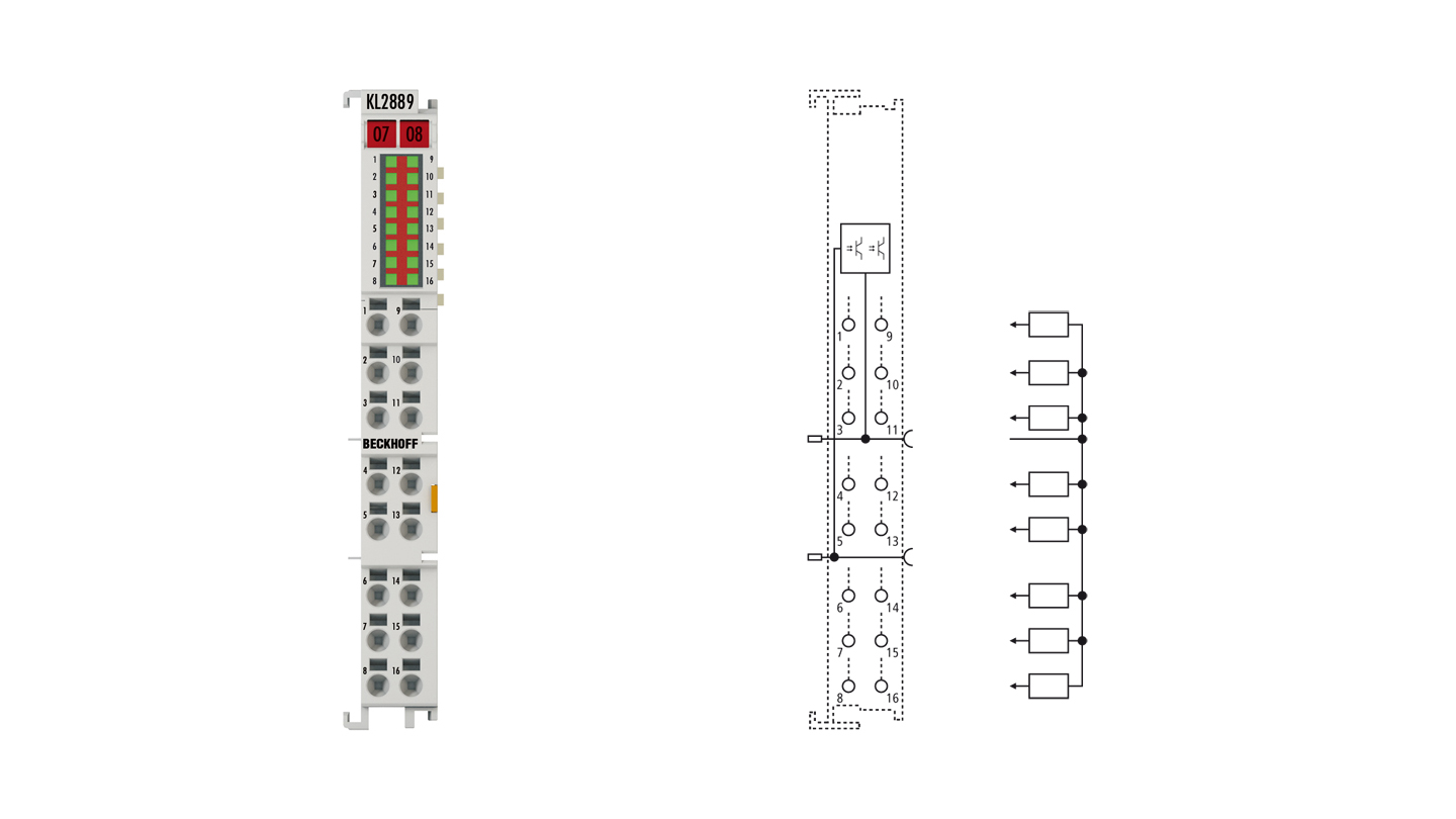 KL2889 | Bus Terminal, 16-channel digital output, 24VDC, 0.5A, ground switching