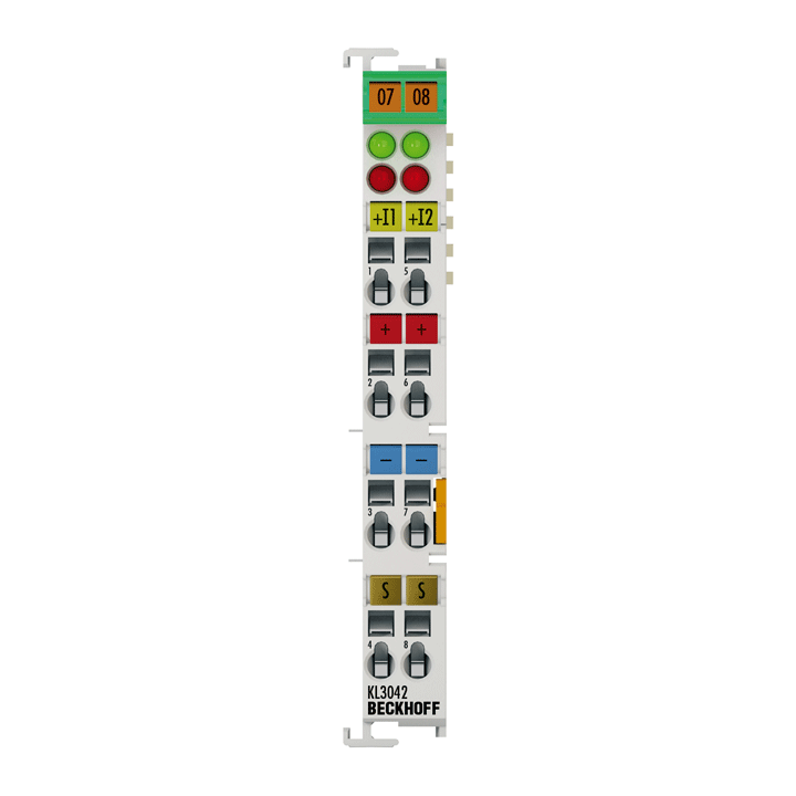 KL3042   Bus Terminal, 2-channel analog input, current, 0…20mA, 12bit, single-ended