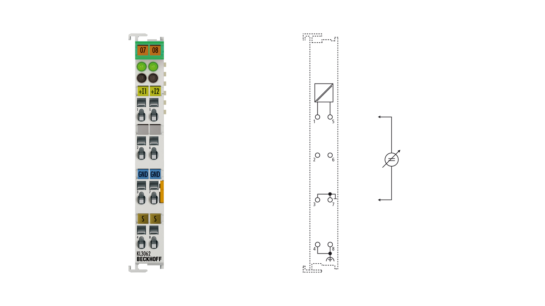 KL3062 | Bus Terminal, 2-channel analog input, voltage, 0…10V, 12bit, single-ended