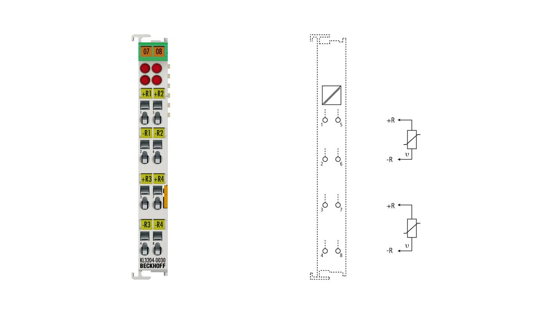 KL3204-0030 | Bus Terminal, 4-channel analog input, temperature, NTC (10kΩ), 16bit