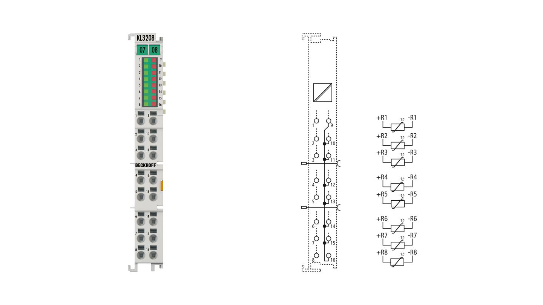 KL3208-0010 | HD-Busklemme, 8-Kanal-Eingangsklemme Pt1000, Ni1000 (RTD); NTC-Sensoren, Potentiometer