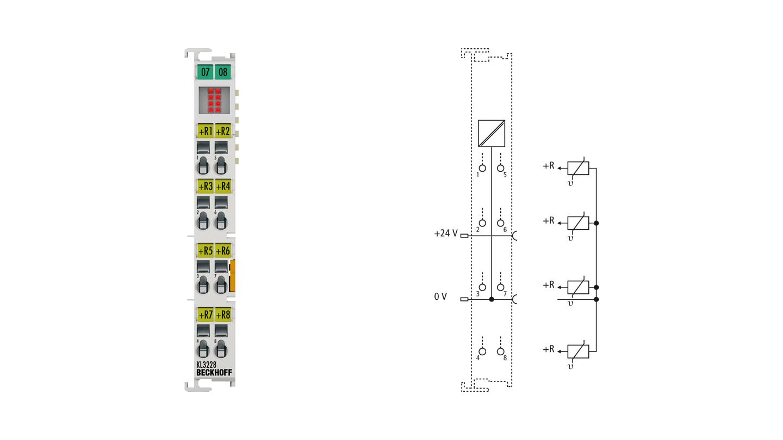 KL3228 | 8-Kanal-Eingangsklemme Pt1000, Ni1000 (RTD)