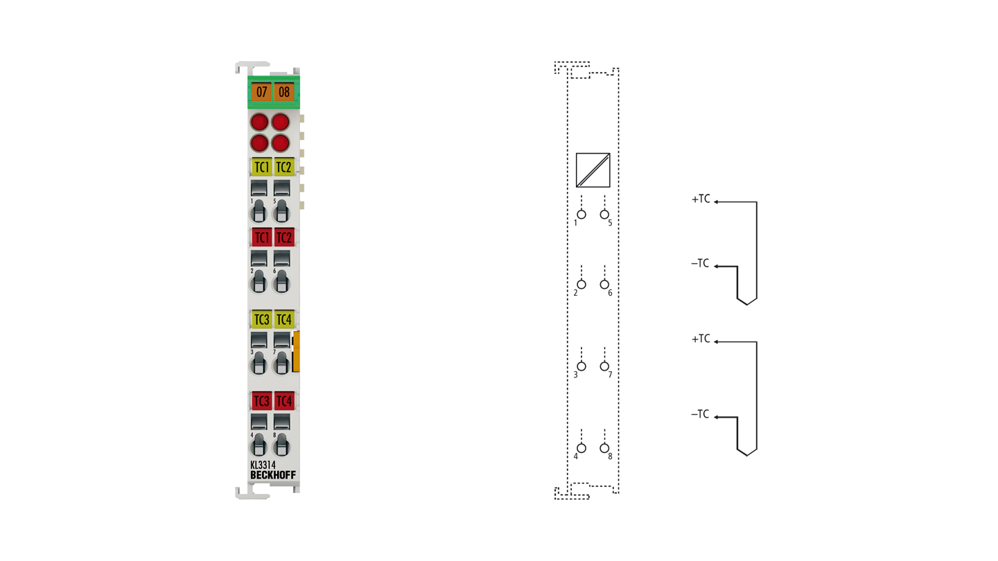 KL3314 | 4-channel thermocouple input terminal with open-circuit recognition
