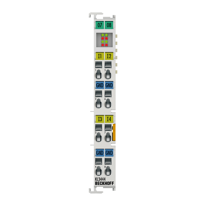 KL3444   Bus Terminal, 4-channel analog input, voltage, 0…20mA, 12bit, single-ended